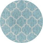 """Carpet """"Outdoor Crosses"""" Round Aquamarine"""